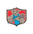 Mechanic Minotaur Bull Spanner Shield Cartoon vector image vector image