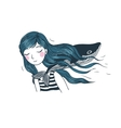 Beautiful young girl with a whale vector image