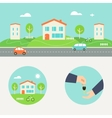 Town Street with Houses and Cars Header Renting vector image