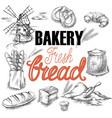 bakery bread sketch vector image