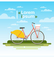 bicycle outdoors on green grass over blue sky no vector image