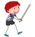 Boy and sword vector image