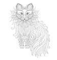 Cat with Fluffy tail in zentangle style Freehand vector image