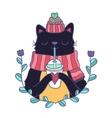 cute cartoon Merry Christmas card with cat vector image