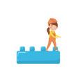 cute girl builder and buiding toy block preschool vector image