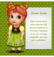 Girl doll redhead with card for your text vector image