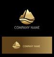 gold ice mountain nature logo vector image