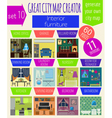 Great city map creator House constructorInteriors vector image