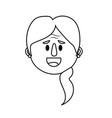 line old woman face with hairstyle vector image
