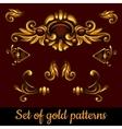 Set of golden volume patterns vector image