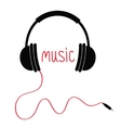 Headphones red cord and word Music Card Flat vector image