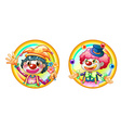 Two clowns on round badges vector image vector image