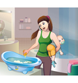 bathing baby vector image