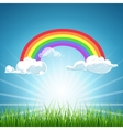 rainbow clouds blue sky and grass vector image
