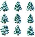 Set of pixel winter snowy tree vector image vector image