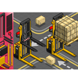 Isometric Forklift in Two Positions vector image