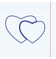 two hearts sign navy line icon on vector image
