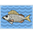 vintage background with fish vector image