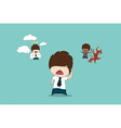 Businessman with evil and angel drawing by hand vector image