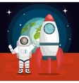 astronaut cartoon space isolated vector image