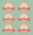 Cupcakes retro style tags set on retro polka dots vector image