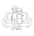 cute couple parents together sitting in the sofa vector image