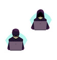 flat hackers with laptop set isolated vector image