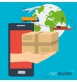 Mobile fast delivery concept vector image