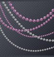 set of realistic pink and white pearl threads on vector image