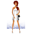 Sexy girl standing in a beautiful white dress vector image