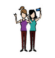 young girl friends taking selfie photo together vector image
