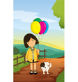 a girl and dog vector image vector image