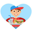 boy carries a tray of food vector image