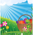 Basket with Easter eggs on a green meadow vector image