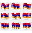 Set of Armenia flags in the air vector image