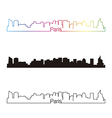 Paris V2 skyline linear style with rainbow vector image vector image