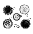 Set of hand drawin ink coffee sketches vector image