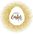 Gold Easter egg with lettering vector image vector image