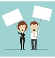 Business colleagues holding sign boards with vector image