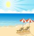 Cartoon Beach chair and umbrella on tropical beach vector image