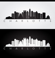 charlotte usa skyline and landmarks silhouette vector image