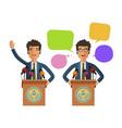 man speaks from podium tribune business concept vector image