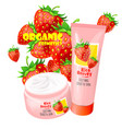 organic cosmetics product with strawberries vector image