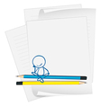 A paper with a drawing of a boy sitting vector image vector image