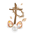 Wooden Cross and A Crown of Thorns with Easter Egg vector image vector image