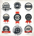 Vintage music labels vector image vector image