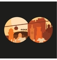 City through binoculars building palm flags in vector image