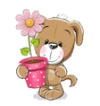 Puppyy with flower vector image