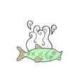 comic cartoon smelly fish vector image