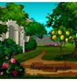 Magic garden with citrus tree and statuett vector image